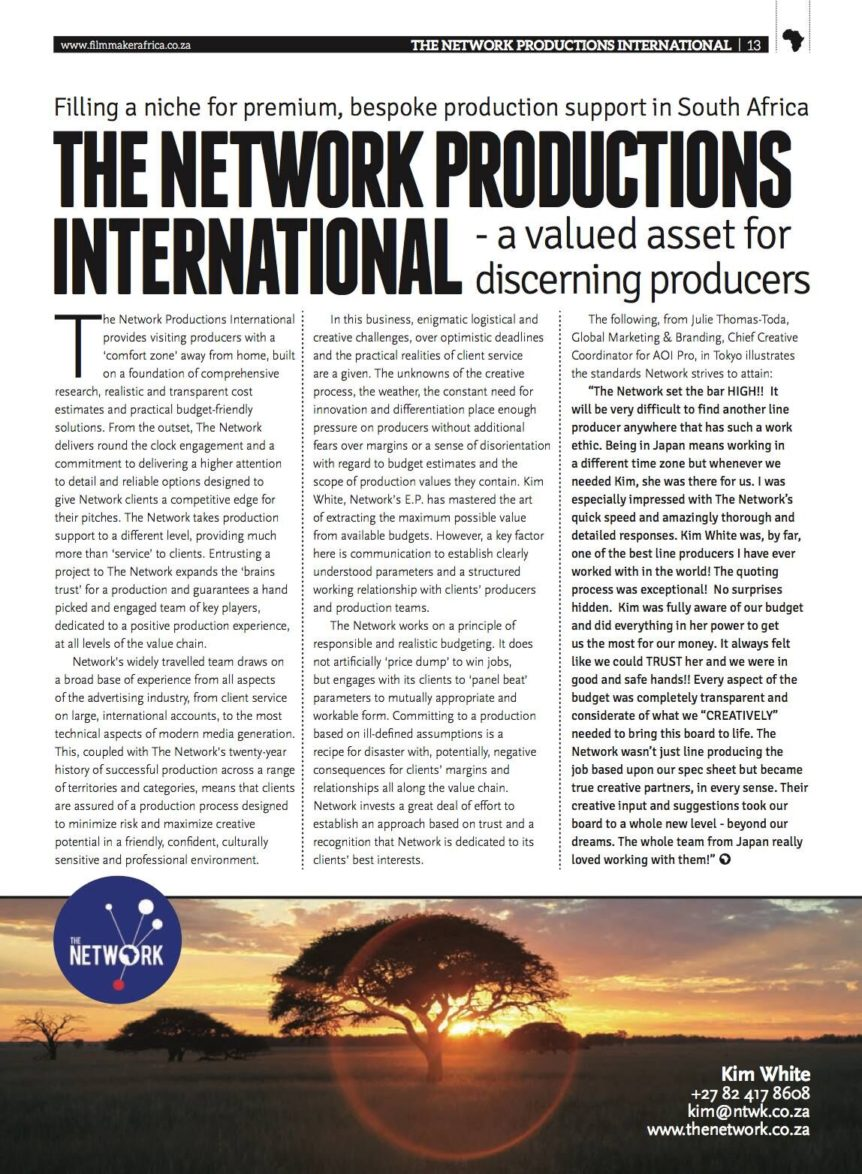 Callsheet Magazine Feature Article on The Network